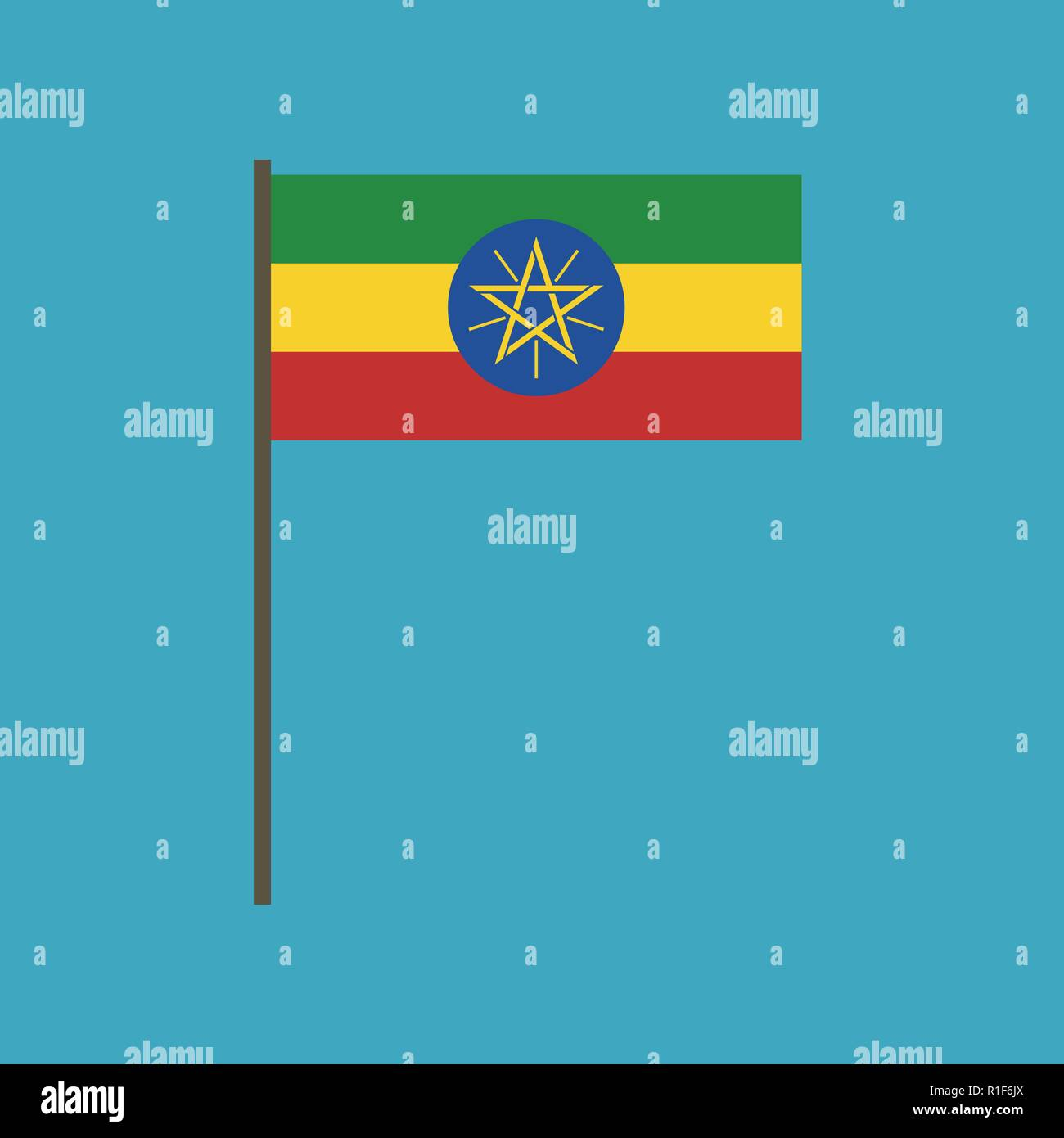 Ethiopia flag icon in flat design. Independence day or National day holiday concept. - Stock Vector