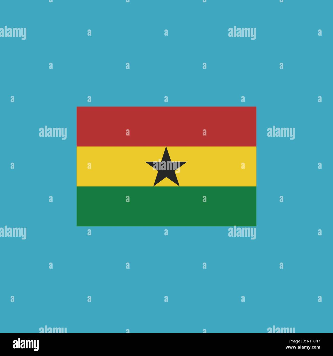Ghana flag icon in flat design. Independence day or National day holiday concept. - Stock Vector