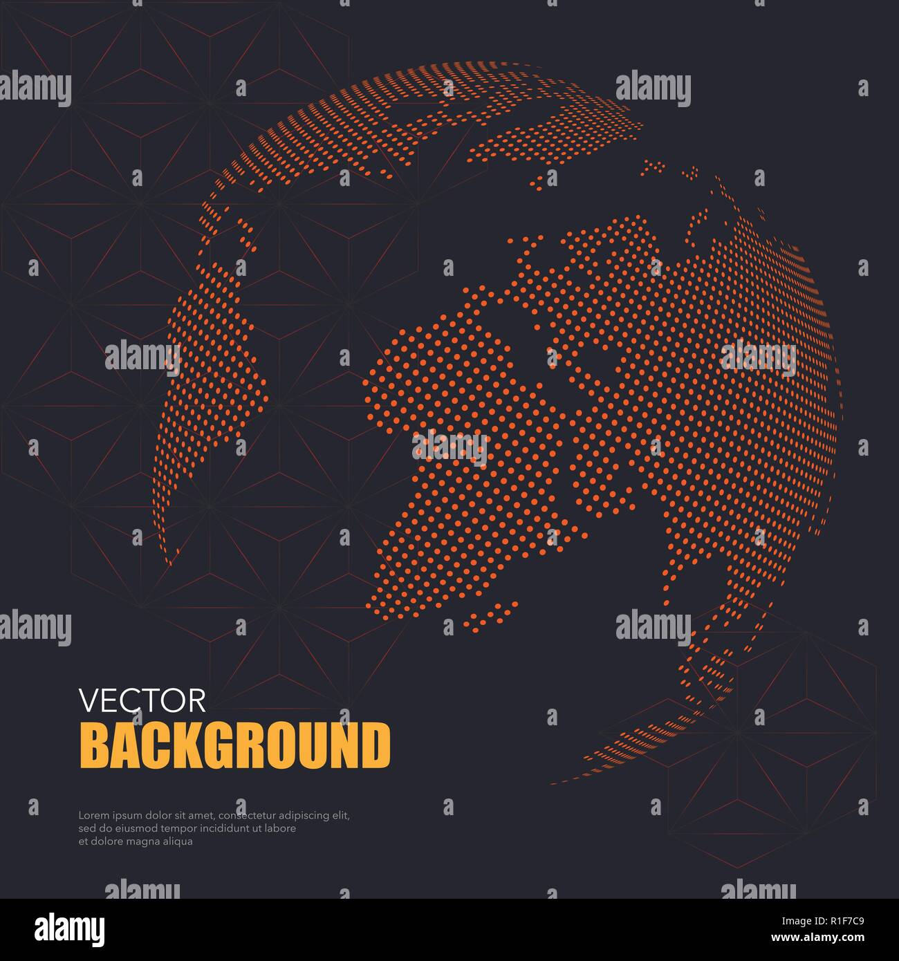 Dark background with orange dotted world map with sample text - Stock Image