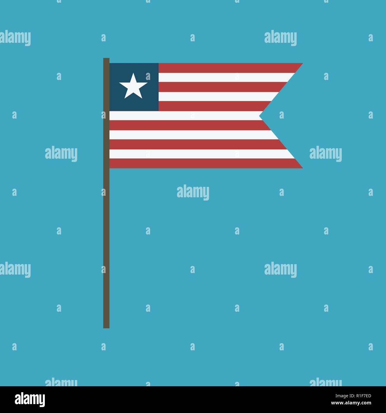 Liberia flag icon in flat design. Independence day or National day holiday concept. - Stock Image
