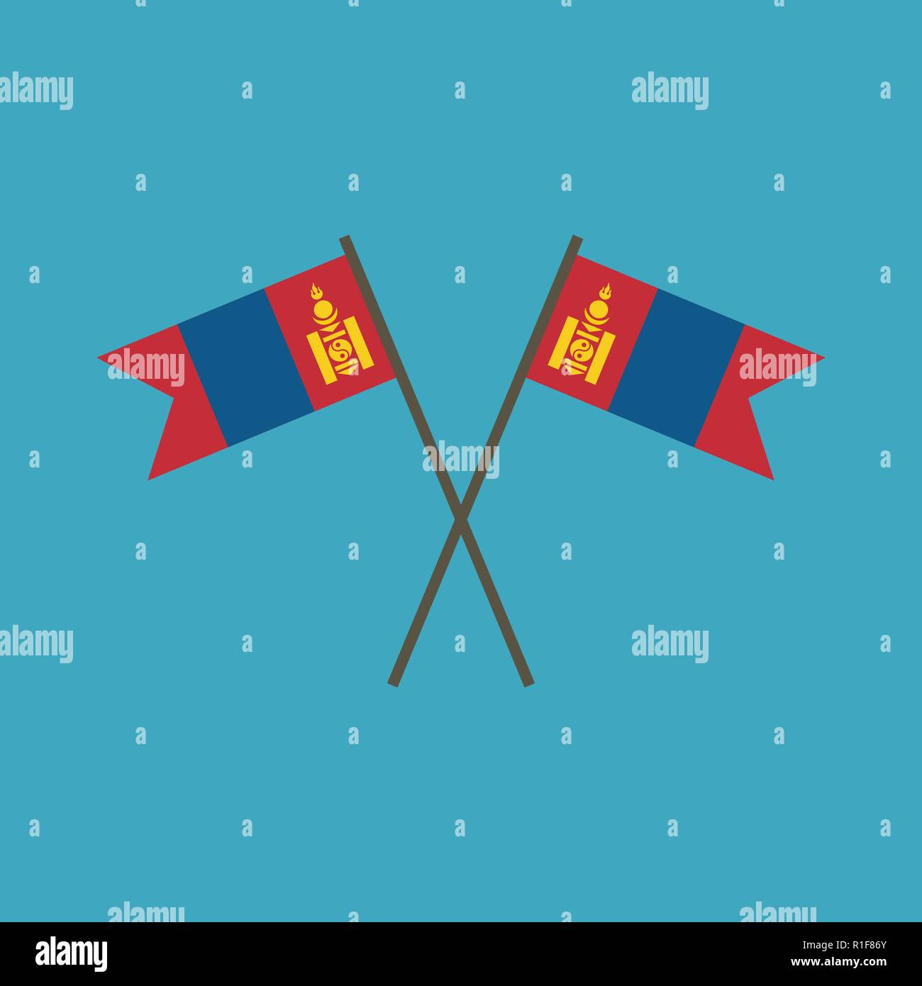 Mongolia flag icon in flat design. Independence day or National day holiday concept. - Stock Vector