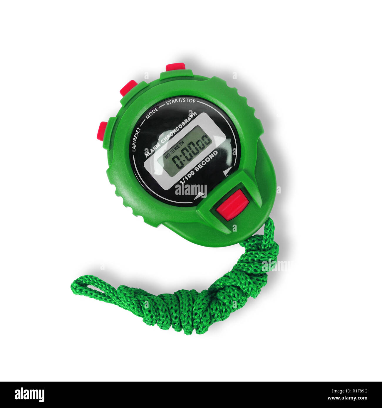 Sports equipment - Green Digital electronic Stopwatch on a white background. Isolated - Stock Image