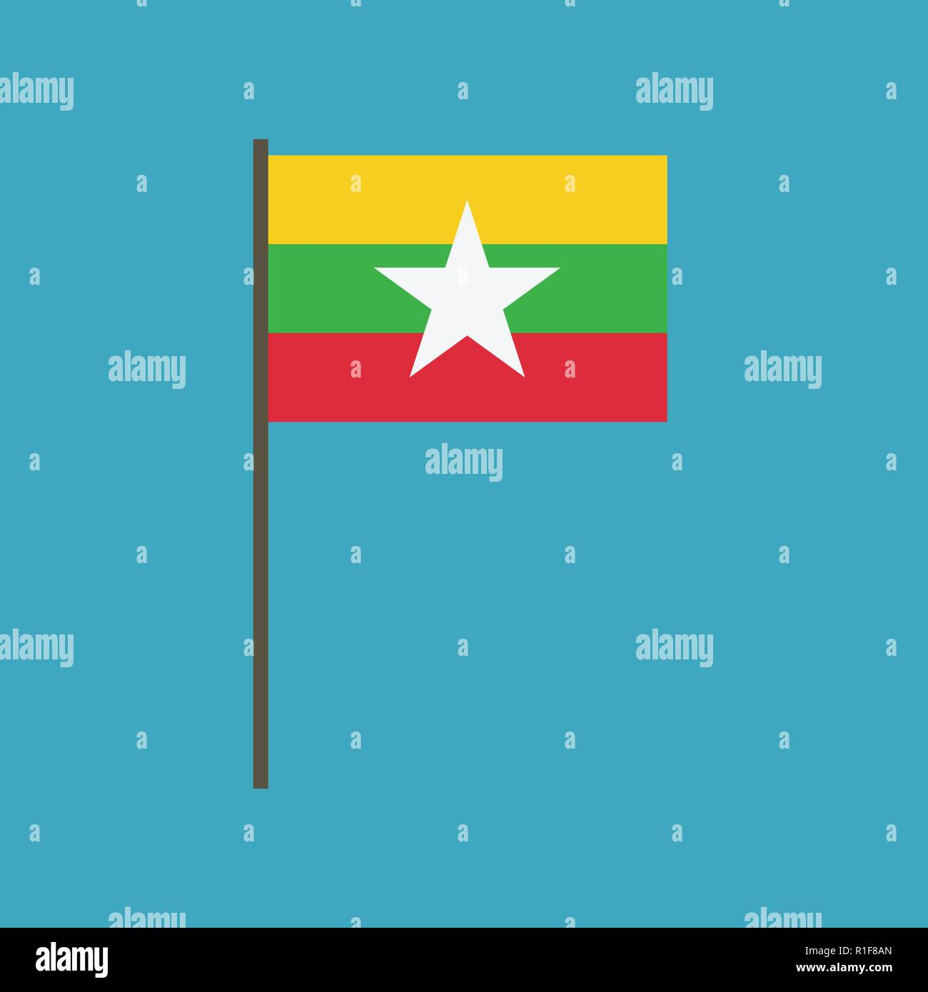 Myanmar flag icon in flat design. Independence day or National day holiday concept. - Stock Vector