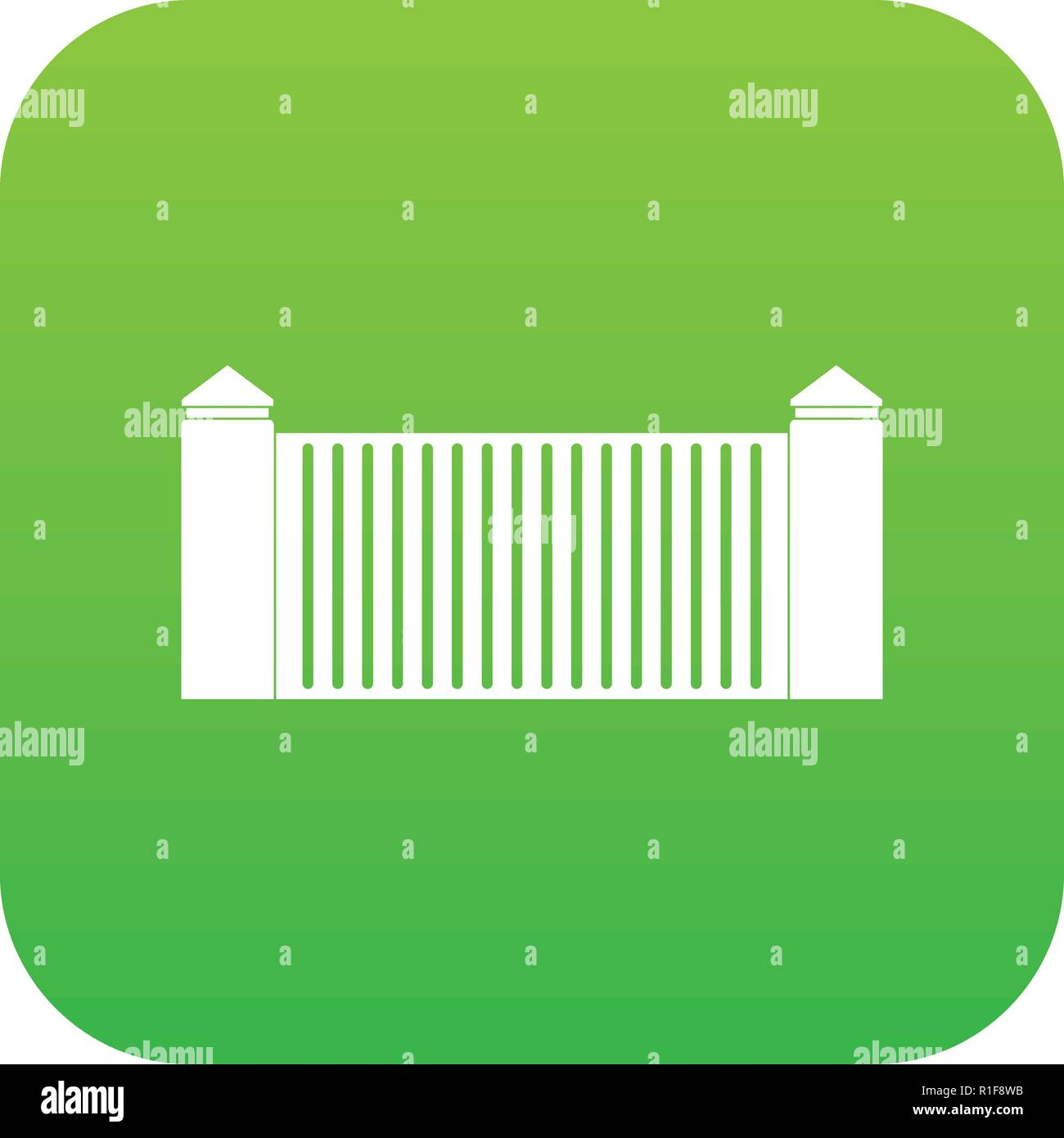 Stone fence icon digital green - Stock Image