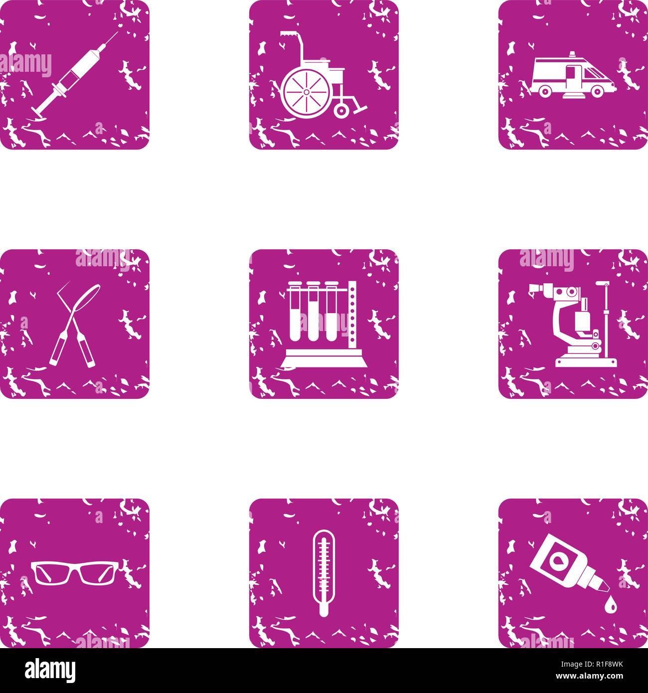Inquiry icons set, grunge style - Stock Image