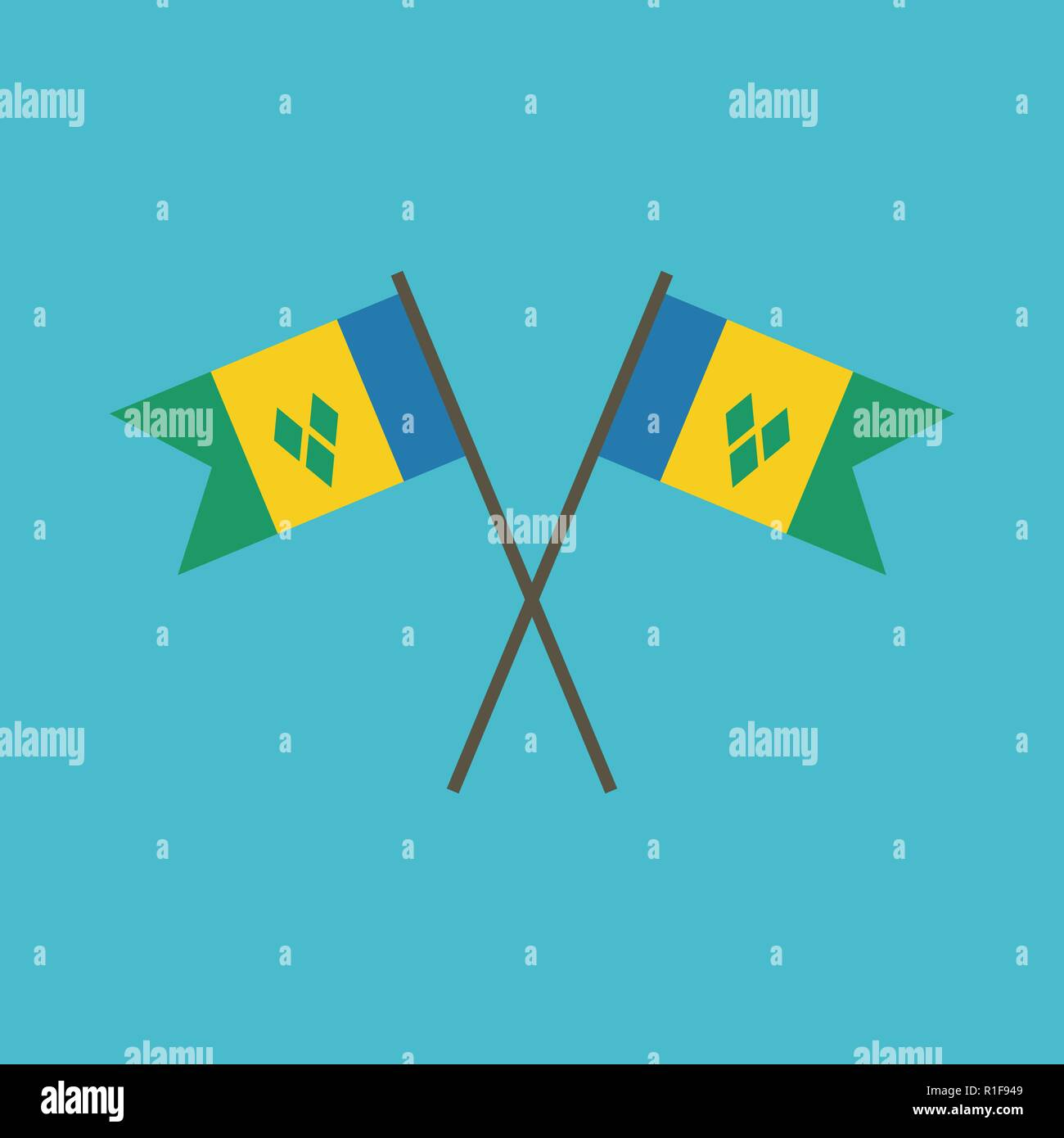 Saint Vincent and the Grenadines flag icon in flat design
