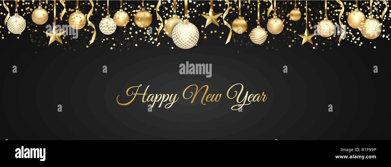 banner with christmas balls and stars great for new year party posters headers