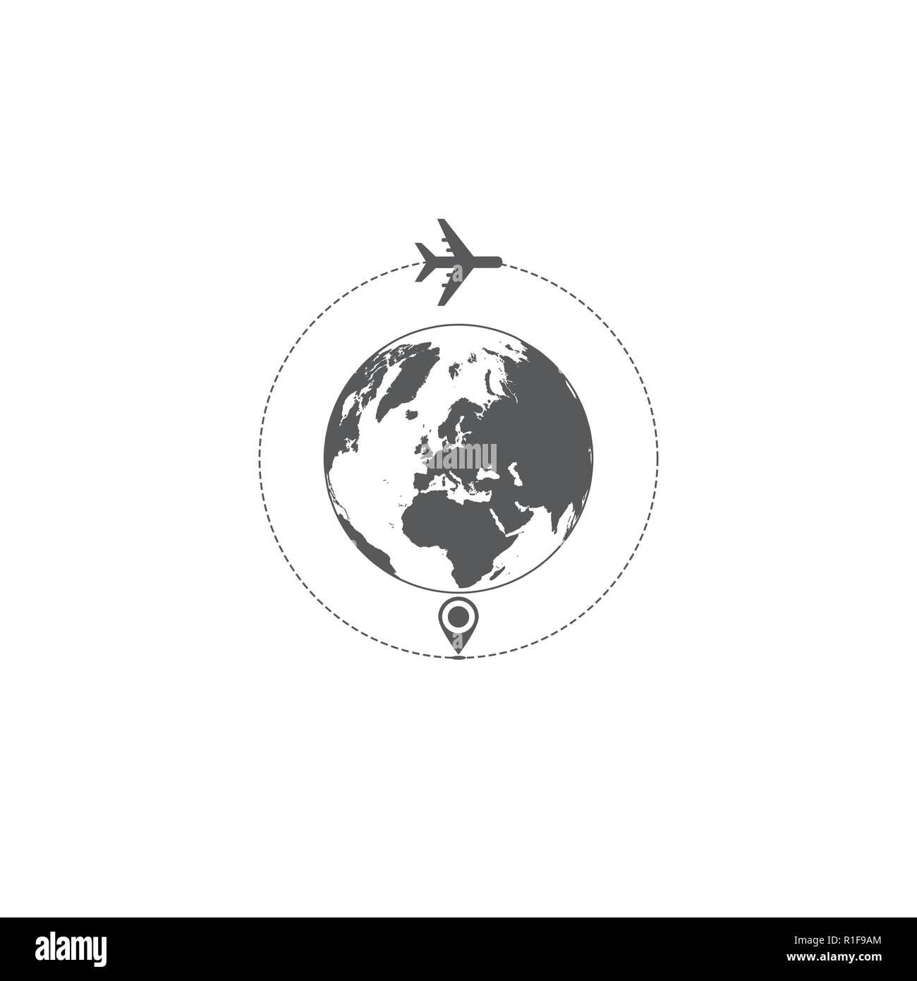 Gray world map and airplane silhouettes isolated on white background - Stock Image