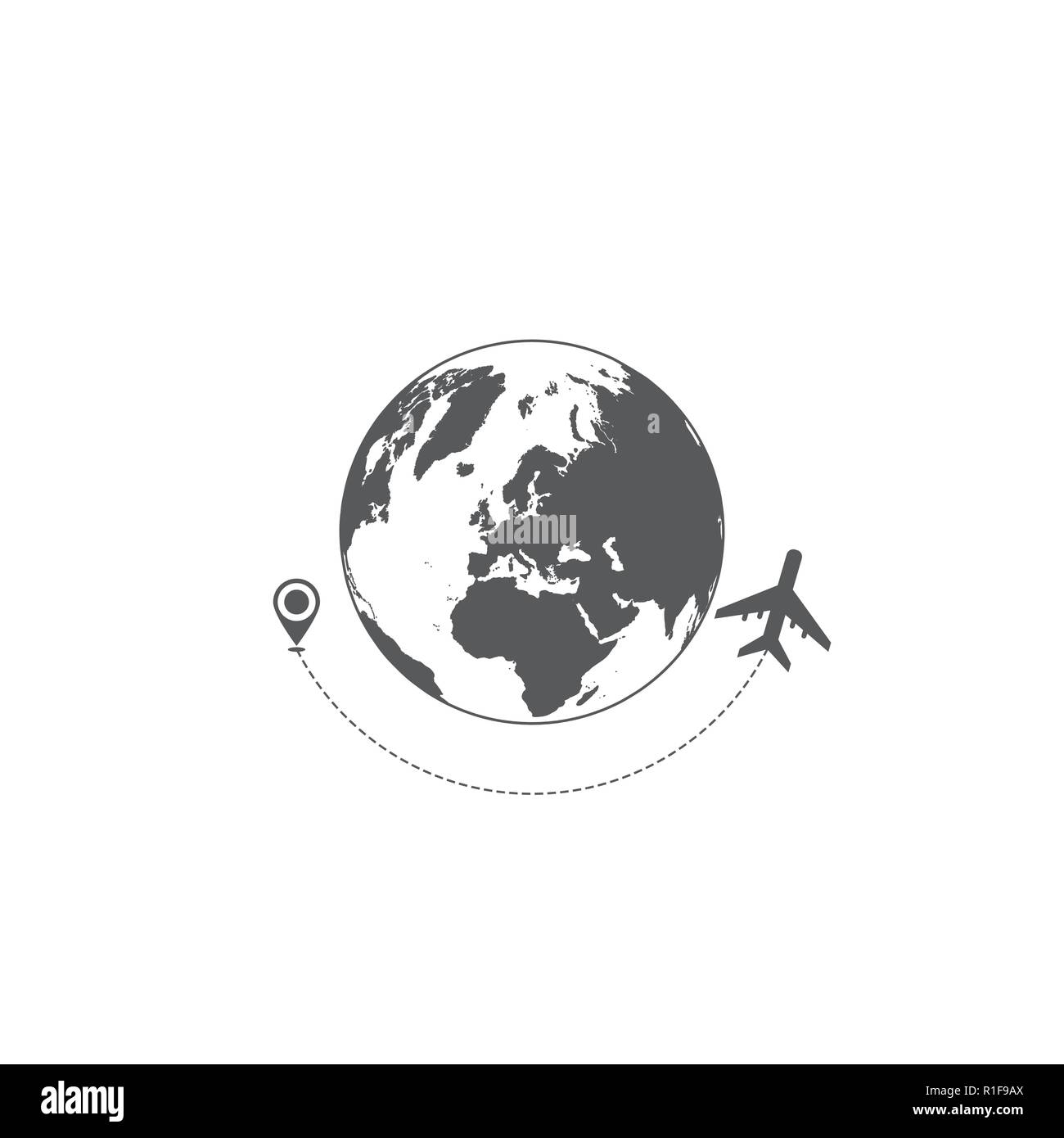 Gray world map and airplane travel silhouettes isolated on white background - Stock Image
