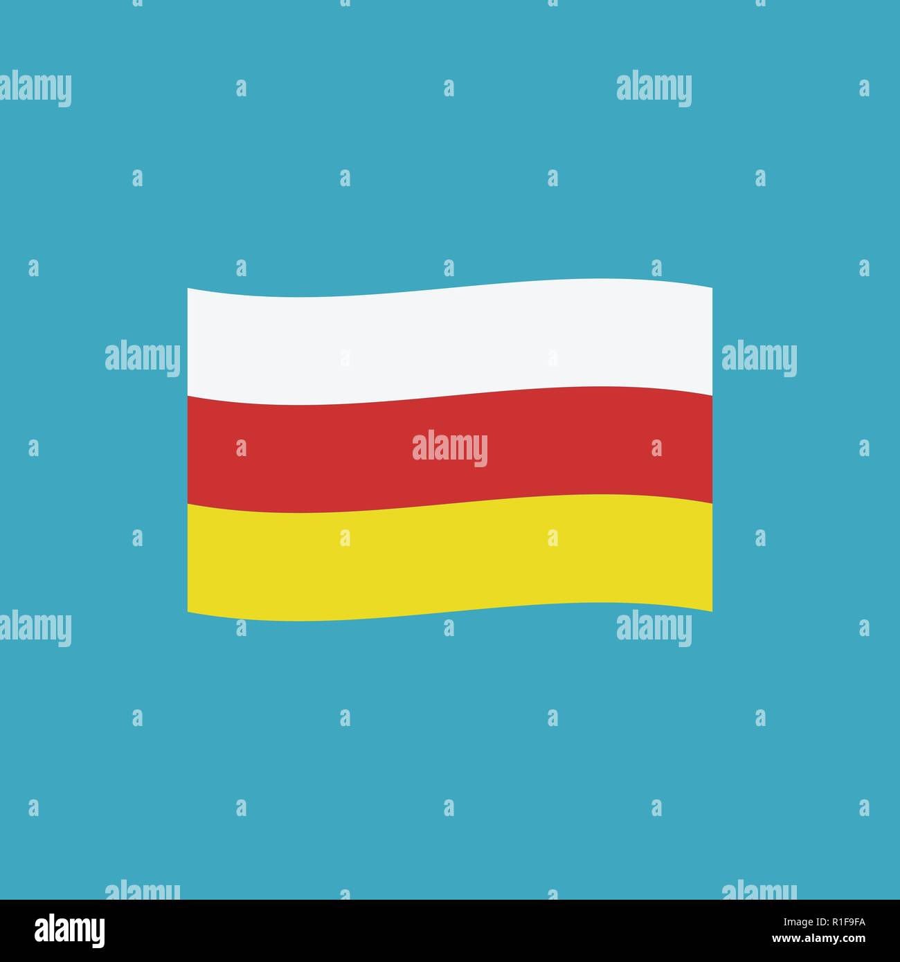 South Ossetia flag icon in flat design. Independence day or National day holiday concept. - Stock Image