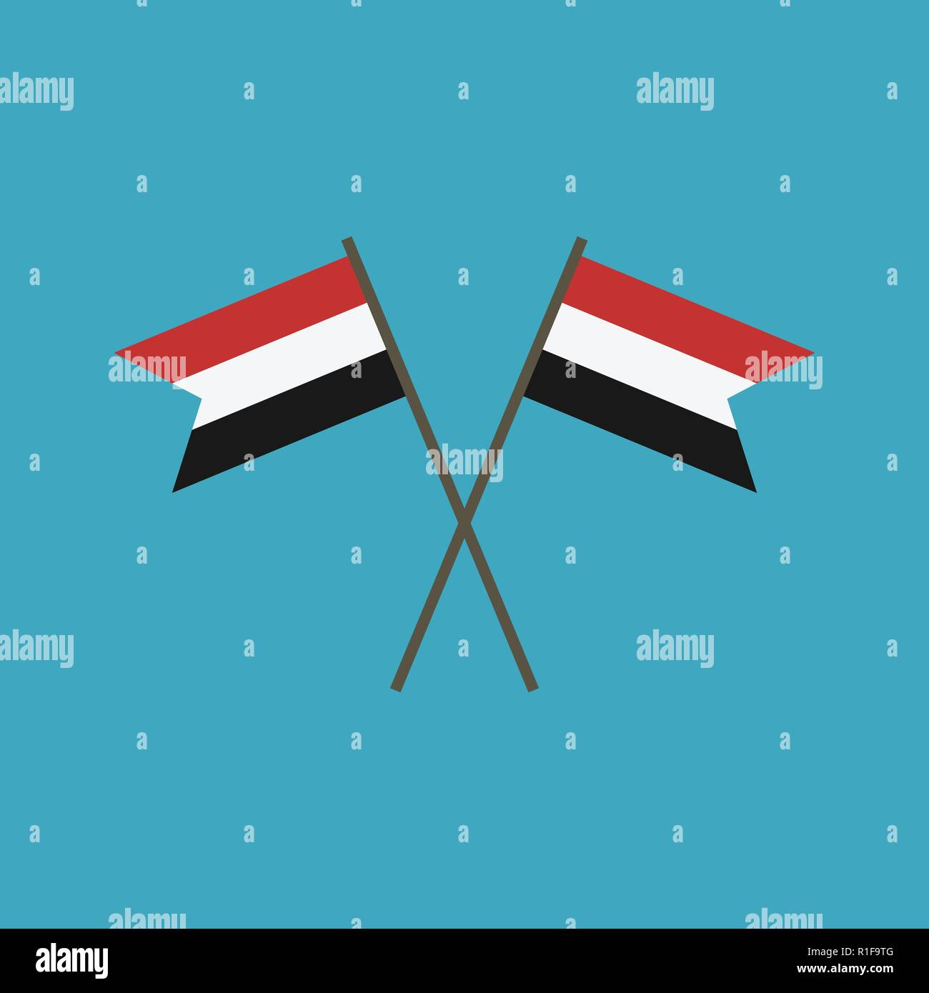 Yemen flag icon in flat design. Independence day or National day holiday concept. - Stock Vector