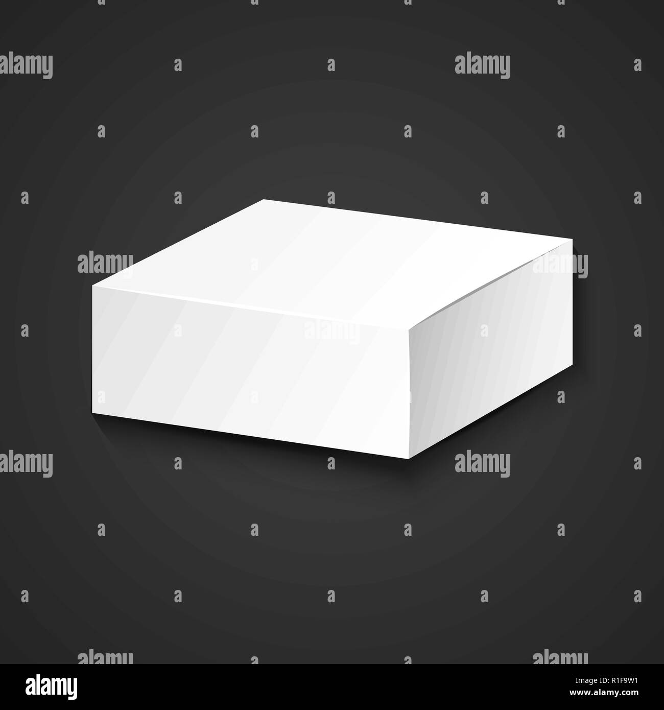 Vector White Blank Mock Up Paper Low Square Package Cardboard Box Illustration Realistic With Shadow Template