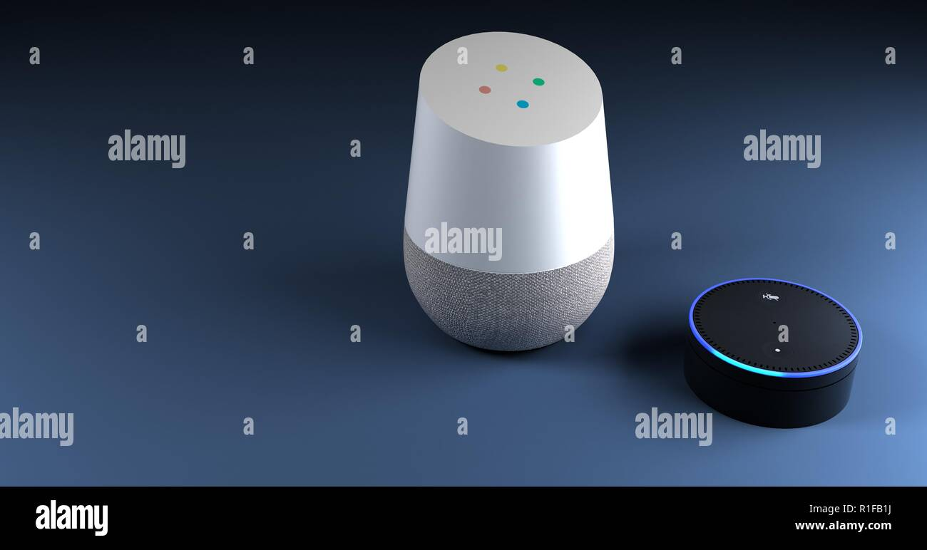 3d rendering of voice recognition system blue backround Stock Photo
