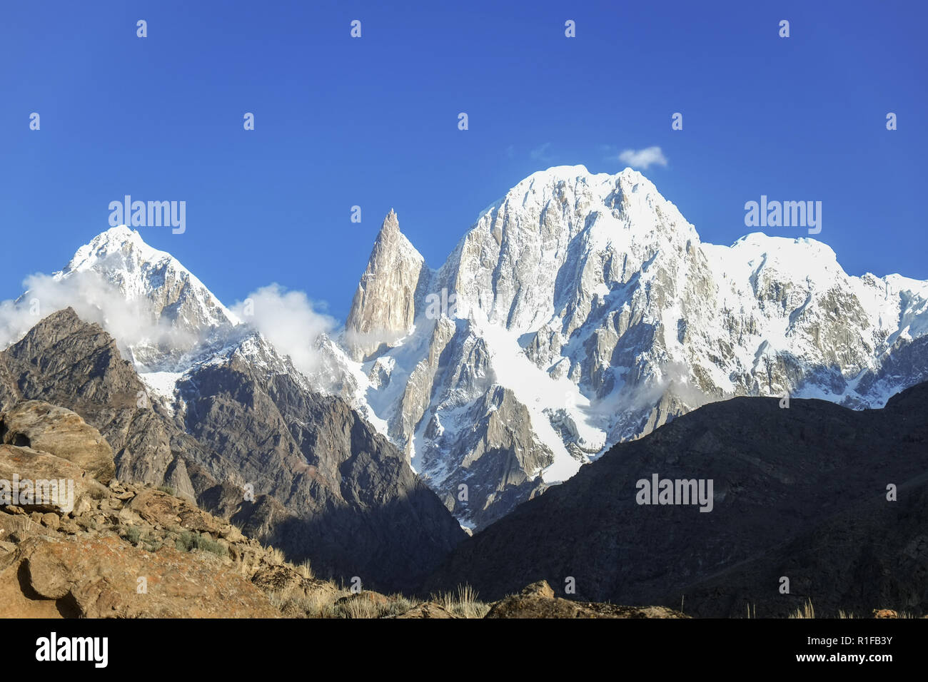 Lady finger and Hunza peak with snow capped. Hunza valley, Gilgit-Baltistan, Pakistan. - Stock Image