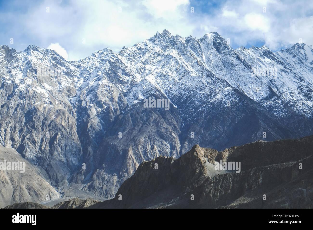 Snow capped mountains in Karakoram range. Passu, Pakistan. - Stock Image