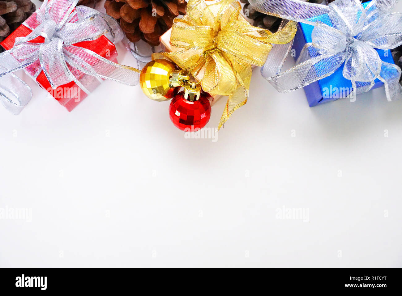 Tree Christmas Gift Boxes Decoration With Pine Cone On White