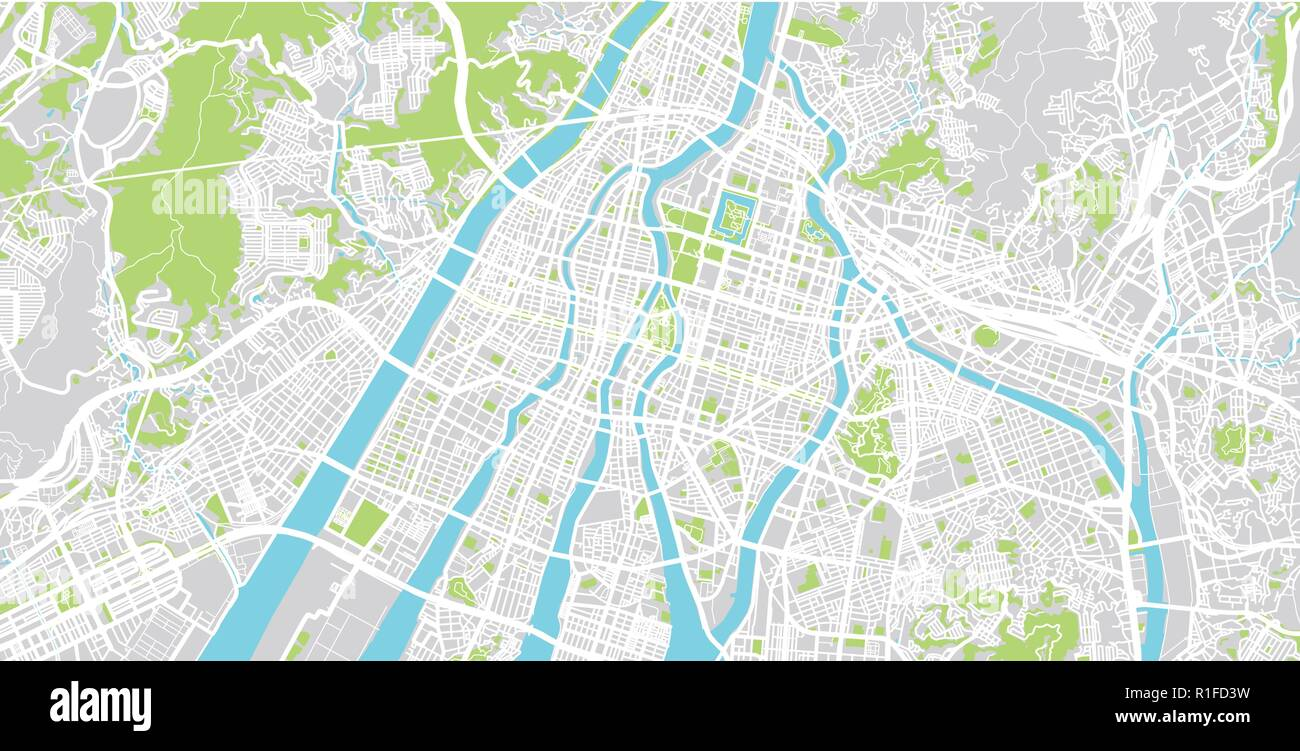 Hiroshima Map Of Japan.Urban Vector City Map Of Hiroshima Japan Stock Vector Art