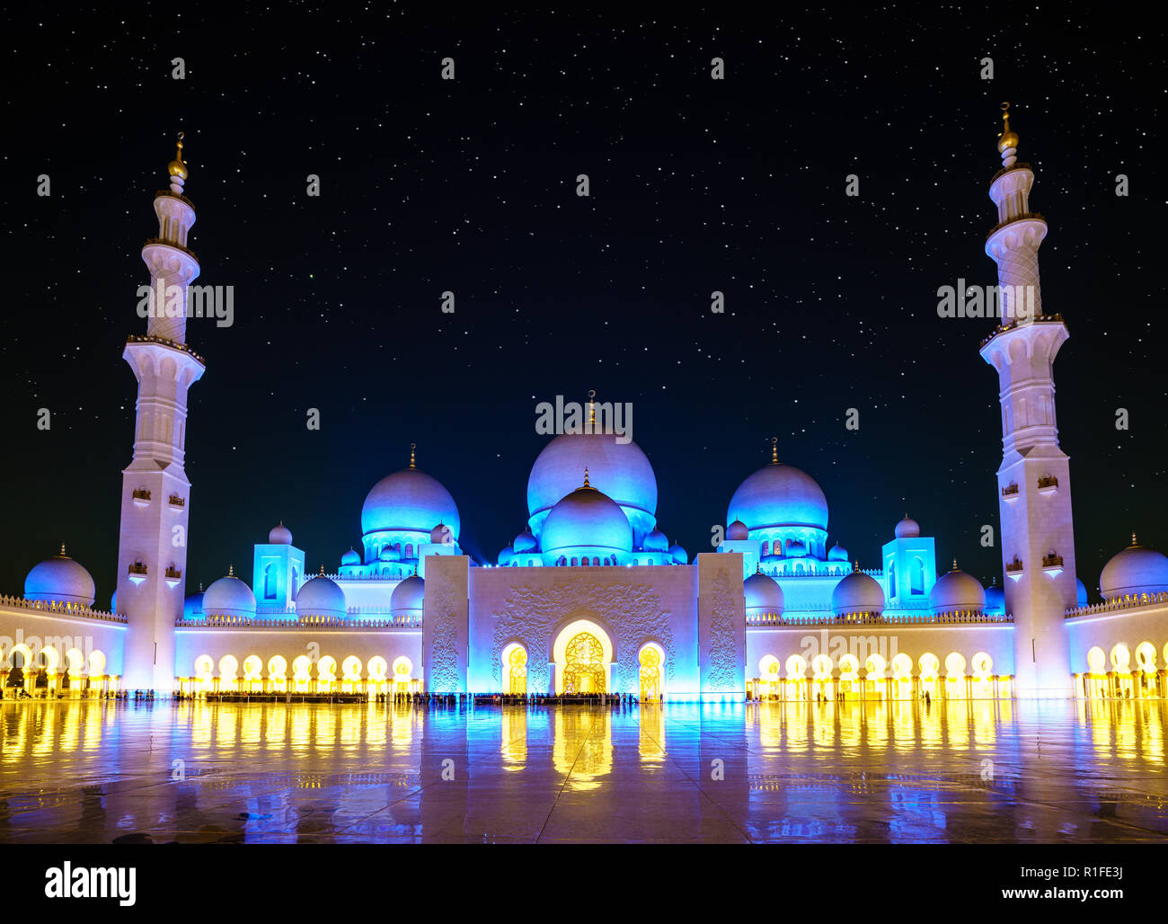 Exterior: Nighttime View Of Inner Court Of Sheikh Zayed Grand Mosque