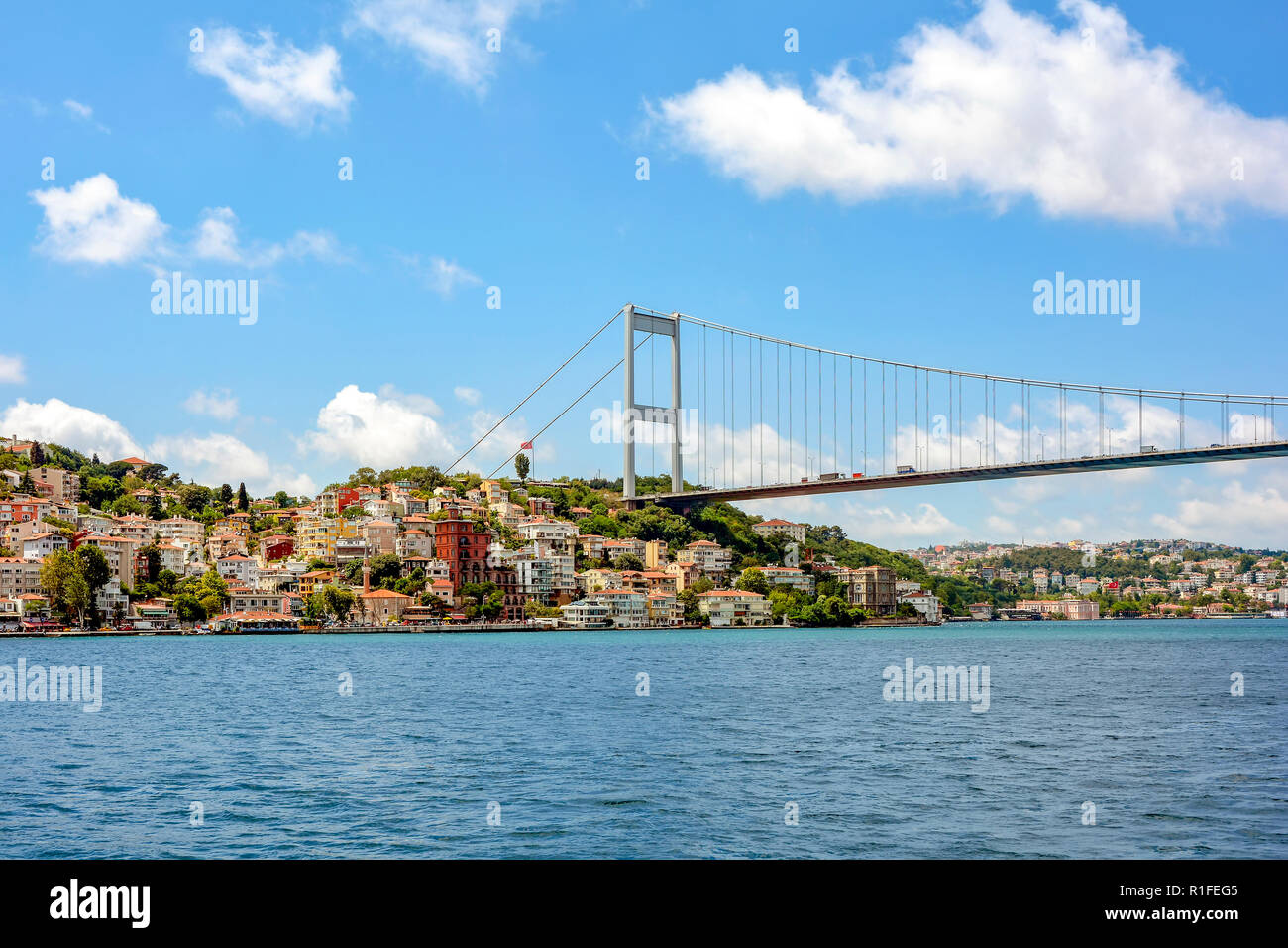 View of the historic city of Istanbul and its buildings on the banks of the Bosphorus - Stock Image