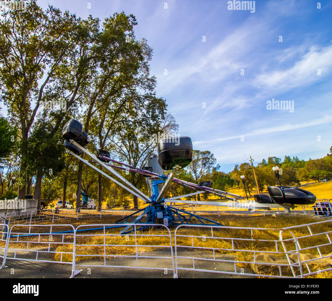 Old Obsolete Amusement Ride In Storage - Stock Image