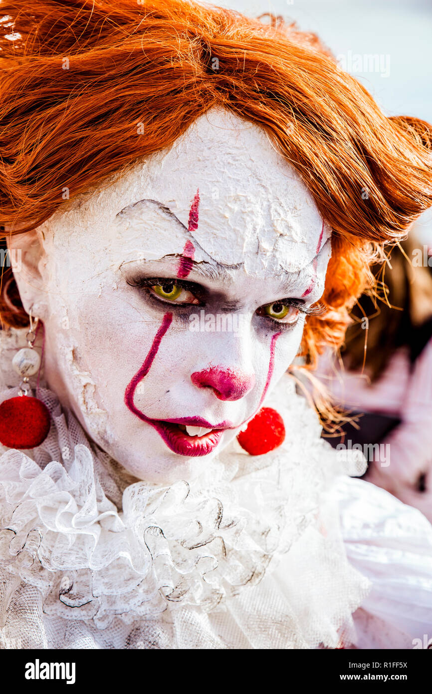 Cosplayer disguised as It the Clown - Stock Image