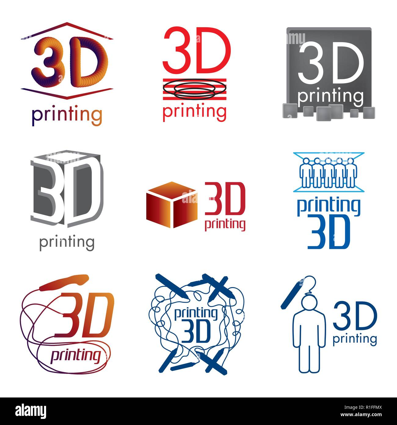 Vector Set Logos 3d Printing And 3d Pens Stock Vector Image Art Alamy