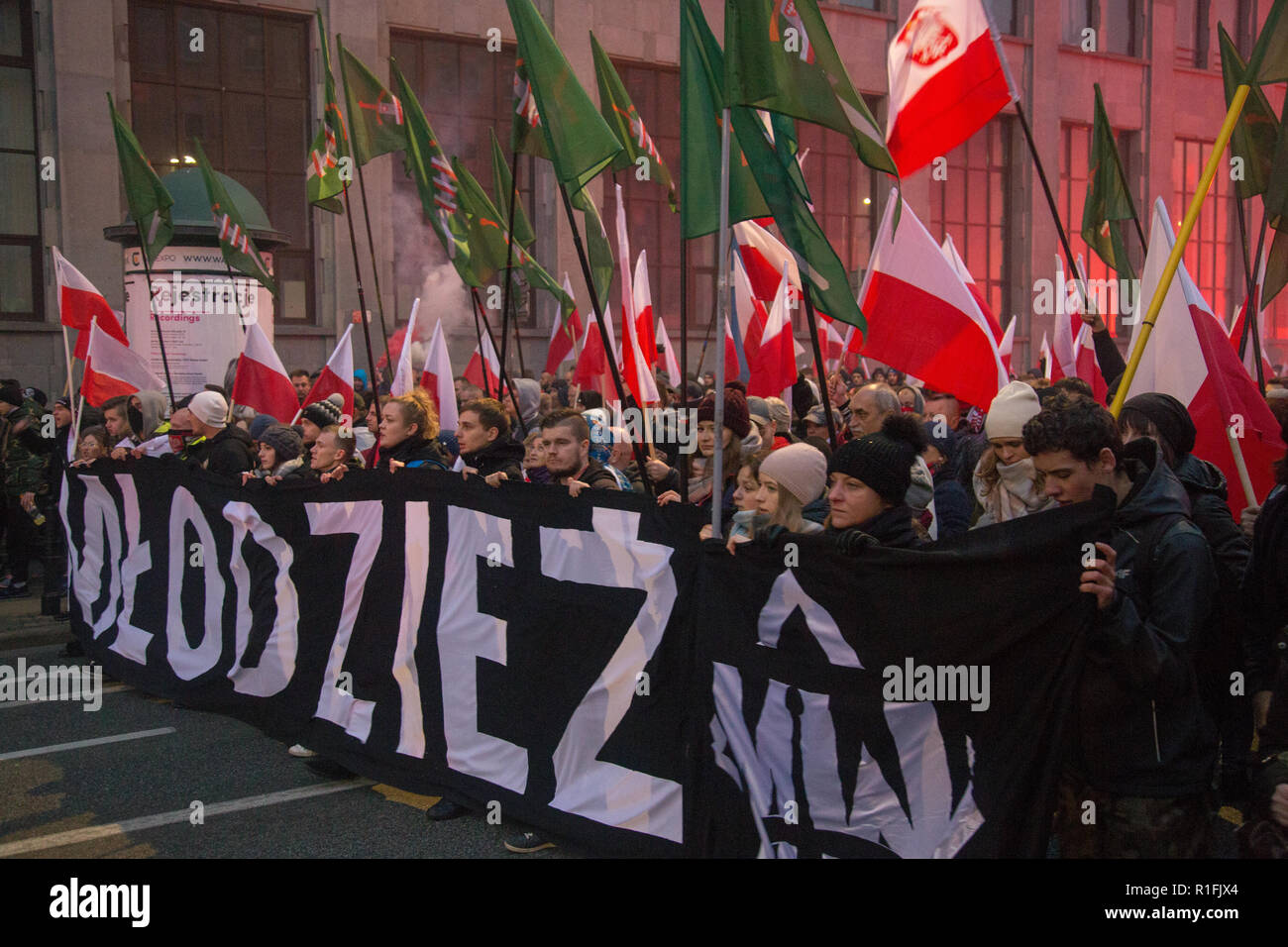 Warsaw, Poland, 11 November 2018: Celebrations of Polish Independence Day in a mass march that gathered more than 200 thousand people. All-Polish Youth (Młodzież Wszechpolska) - Stock Image