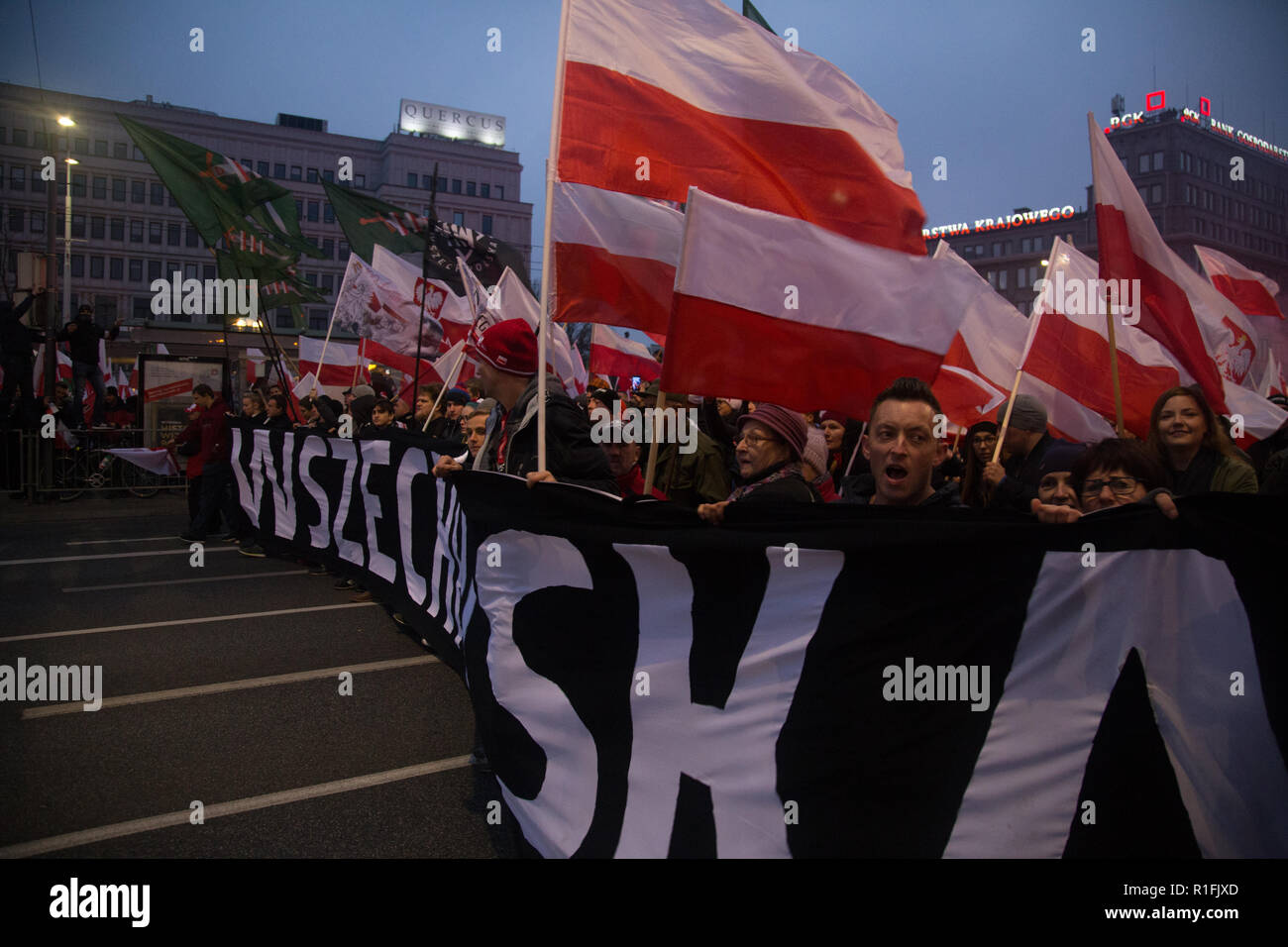 Warsaw, Poland, 11 November 2018: Celebrations of Polish Independence Day in a mass march that gathered more than 200 thousand people - All-Polish Youth (Młodzież Wszechpolska) - Stock Image