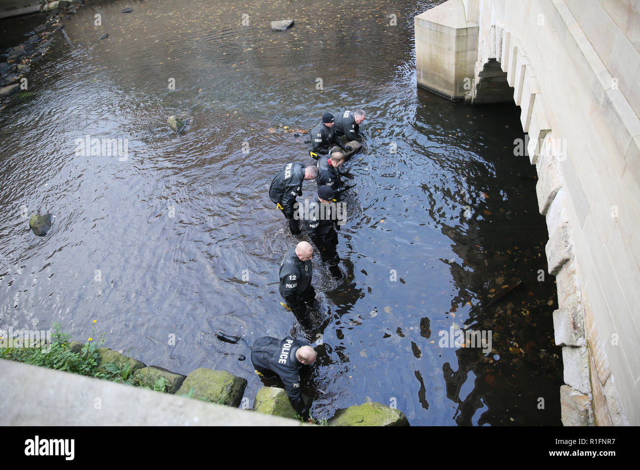 Rochdale, Lancashire, UK. 12th November, 2018. The Northwest Police  Underwater Search and Marine Unit are conducting a search of the River Roche in Rochdale town center.  Currently there is no information been released suggesting what they are searching for.  Rochdale, UK, 12th November 2018 (C)Barbara Cook/Alamy Live News - Stock Image