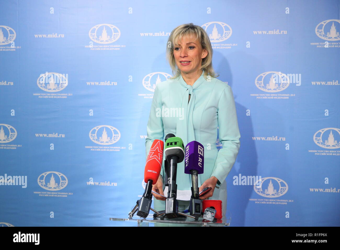 MOSCOW, RUSSIA - NOVEMBER 12, 2018: Russian Foreign Ministry Spokesperson Maria Zakharova talks to journalists during the opening of a representative office of the Russian Foreign Ministry at the Masterslavl Children's Amusement Center.  Children will study diplomatic etiquette, learn to solve global problems and to answer journalists' tricky questions and will take part in negotiations in the form of a game at the representative office. Sergei Bobylev/TASS - Stock Image