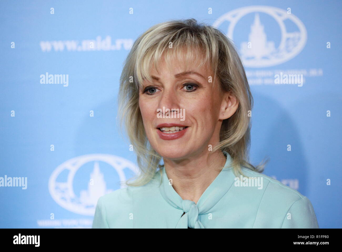 MOSCOW, RUSSIA - NOVEMBER 12, 2018: Russian Foreign Ministry Spokesperson Maria Zakharova during the opening of a representative office of the Russian Foreign Ministry at the Masterslavl Children's Amusement Center.  Children will study diplomatic etiquette, learn to solve global problems and to answer journalists' tricky questions and will take part in negotiations in the form of a game at the representative office. Sergei Bobylev/TASS - Stock Image