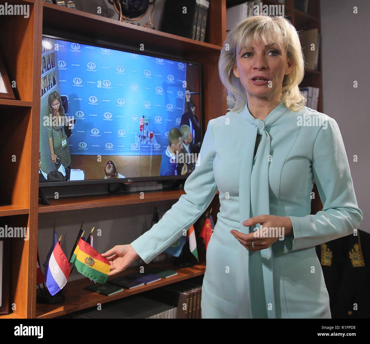 Moscow, Russia. 12th Nov, 2018. MOSCOW, RUSSIA - NOVEMBER 12, 2018: Russian Foreign Ministry Spokesperson Maria Zakharova during the opening of a representative office of the Russian Foreign Ministry at the Masterslavl Children's Amusement Center. Children will study diplomatic etiquette, learn to solve global problems and to answer journalists' tricky questions and will take part in negotiations in the form of a game at the representative office. Sergei Bobylev/TASS Credit: ITAR-TASS News Agency/Alamy Live News - Stock Image