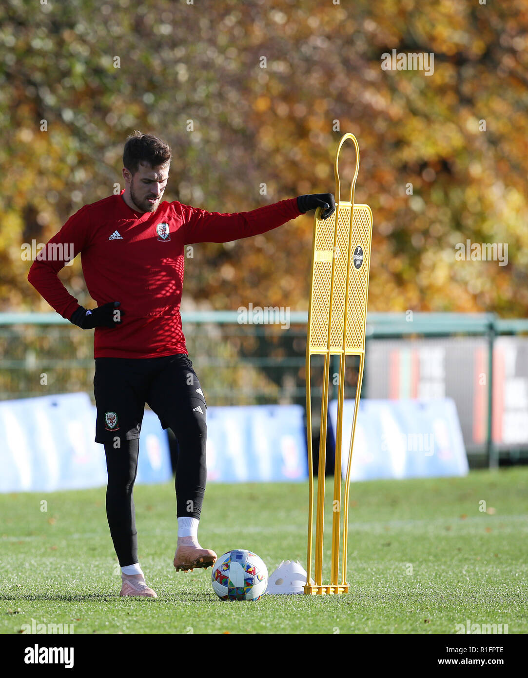 Cardiff, Wales, UK. 12th November, 2018. Aaron Ramsey of Wales in action during the Wales football squad training at the Vale Resort in Hensol, near Cardiff , South Wales on Monday 12th November 2018.  the team are preparing for their UEFA Nations League match against Denmark this Friday.   pic by Andrew Orchard/Alamy Live News Stock Photo