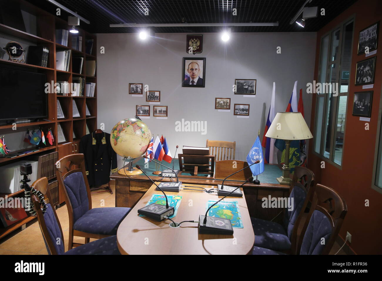 Moscow, Russia. 12th Nov, 2018. MOSCOW, RUSSIA - NOVEMBER 12, 2018: The opening of a representative office of the Russian Foreign Ministry at the Masterslavl Children's Amusement Center. Children will study diplomatic etiquette, learn to solve global problems and to answer journalists' tricky questions and will take part in negotiations in the form of a game at the representative office. Sergei Bobylev/TASS Credit: ITAR-TASS News Agency/Alamy Live News - Stock Image