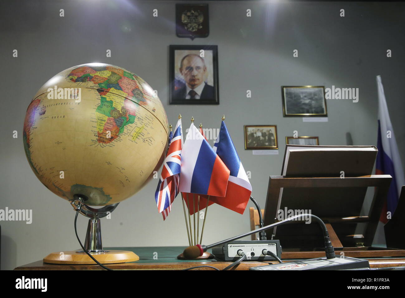 Moscow, Russia. 12th Nov, 2018. MOSCOW, RUSSIA - NOVEMBER 12, 2018: The opening of a representative office of the Russian Foreign Ministry at the Masterslavl Children's Amusement Center. Children will study diplomatic etiquette, learn to solve global problems and to answer journalists' tricky questions and will take part in negotiations in the form of a game at the representative office. Sergei Bobylev/TASS Credit: ITAR-TASS News Agency/Alamy Live News Stock Photo