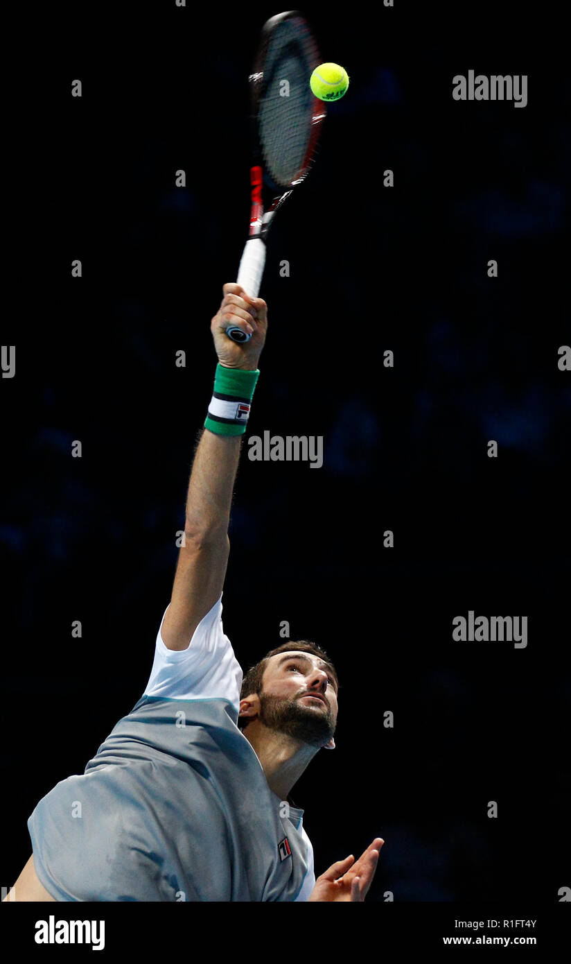 London, UK. 12th November, 2018. O2 Arena, London, England; Nitto ATP Tennis Finals; Marin Cilic (CRO) serves to Alexander Zverev (GER) Credit: Action Plus Sports Images/Alamy Live News Stock Photo