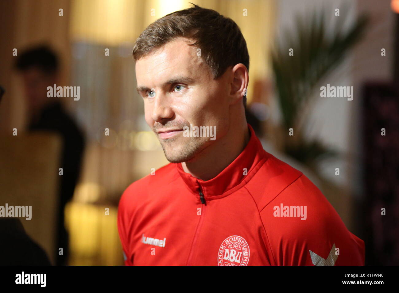 Newport, Wales, UK. 12th November, 2018. Andreas Bjelland is a Danish professional football centre back who plays for FC Copenhagen. Pre-match interview at the Celtic Manor Resort near Newport ahead of Nations League match Wales v Denmark at the Cardiff City Stadium. Credit: www.garethjohn.uk/Alamy Live News - Stock Image