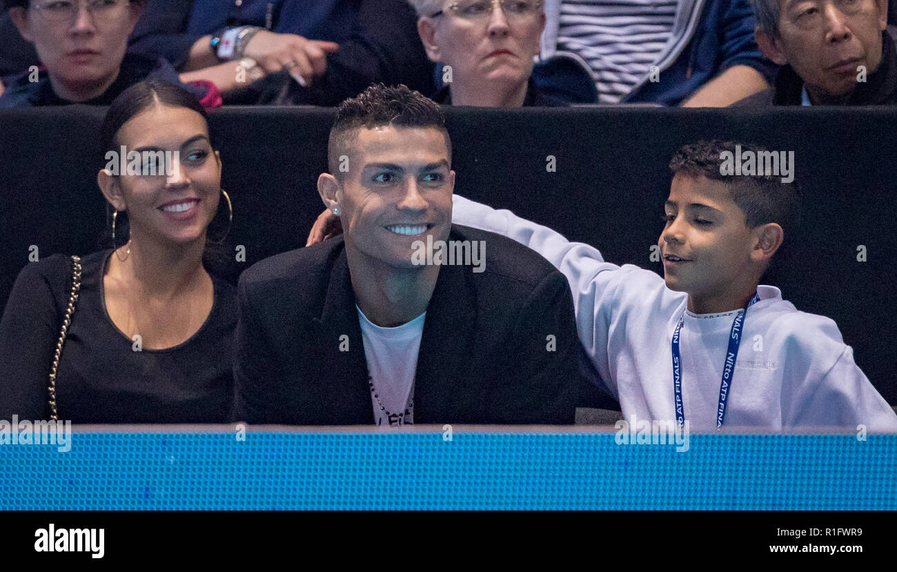 London, UK. 12th November, 2018. Juventus footballer Ronaldo attends the evening match with his girlfriend Georgina Rodriguez and his son Cristiano Junior at the Nitto ATP World Finals London at the O2, London, England on 12 November 2018. Photo by Andy Rowland. Credit: Andrew Rowland/Alamy Live News - Stock Image