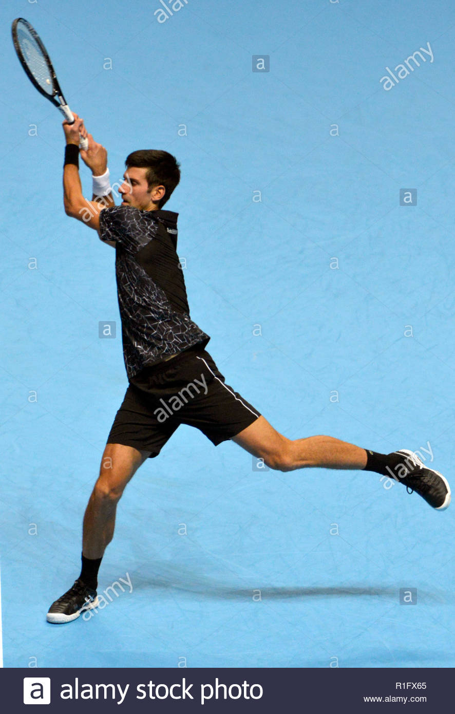 London UK 12th November 2018 Nitto ATP World Tour Finals at 02 Arena London UK Novak Djokovic SRB Vs John Isner USA Djokovic in action during the match Credit: Leo Mason Photos/Alamy Live News Stock Photo