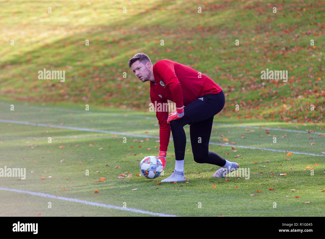 Cardiff, Wales, UK. 12th November, 2018. Wales goalkeeper Wayne Hennessey trains at the Vale Resort ahead of their upcoming international matches against Denmark & Albania.  Lewis Mitchell/YCPD. Credit: Lewis Mitchell/Alamy Live News Stock Photo