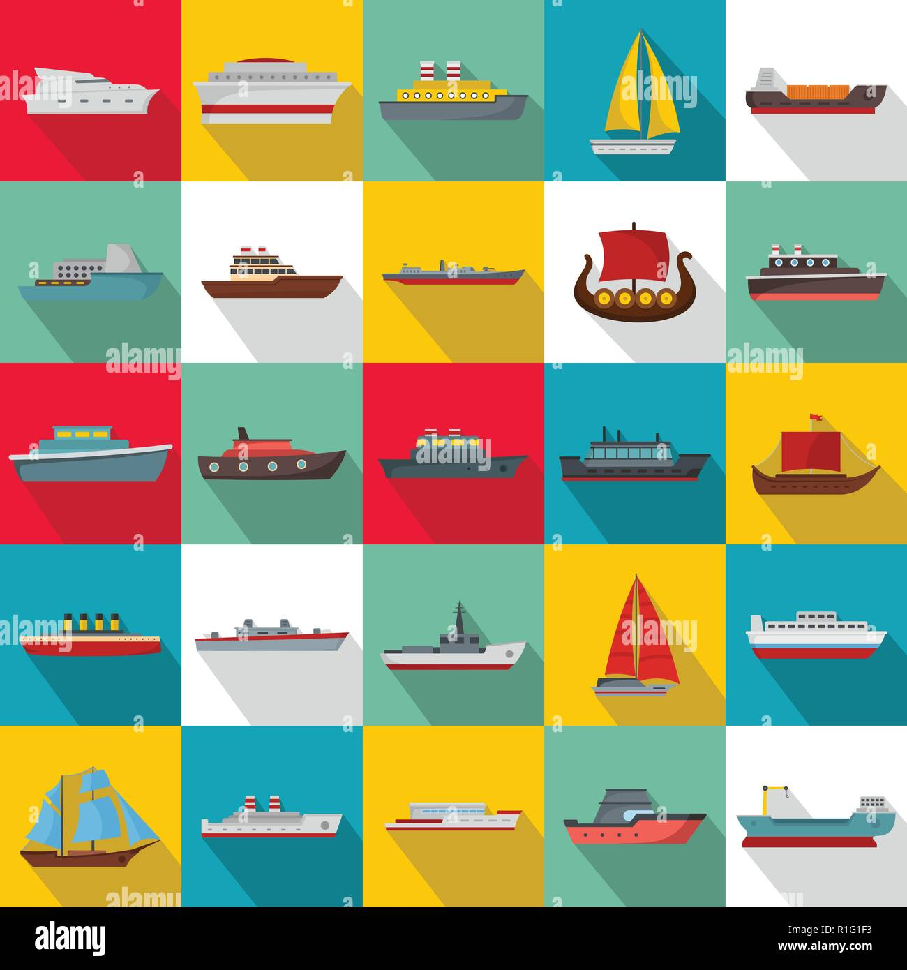 Marine vessels types icons set. Flat illustration of 25 marine vessel type vector icons for web - Stock Image