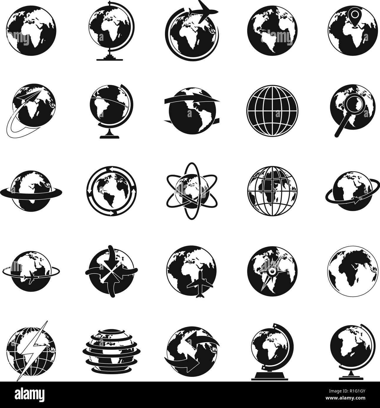 Globe Earth icons set. Simple illustration of 25 Globe Earth vector icons for web - Stock Image