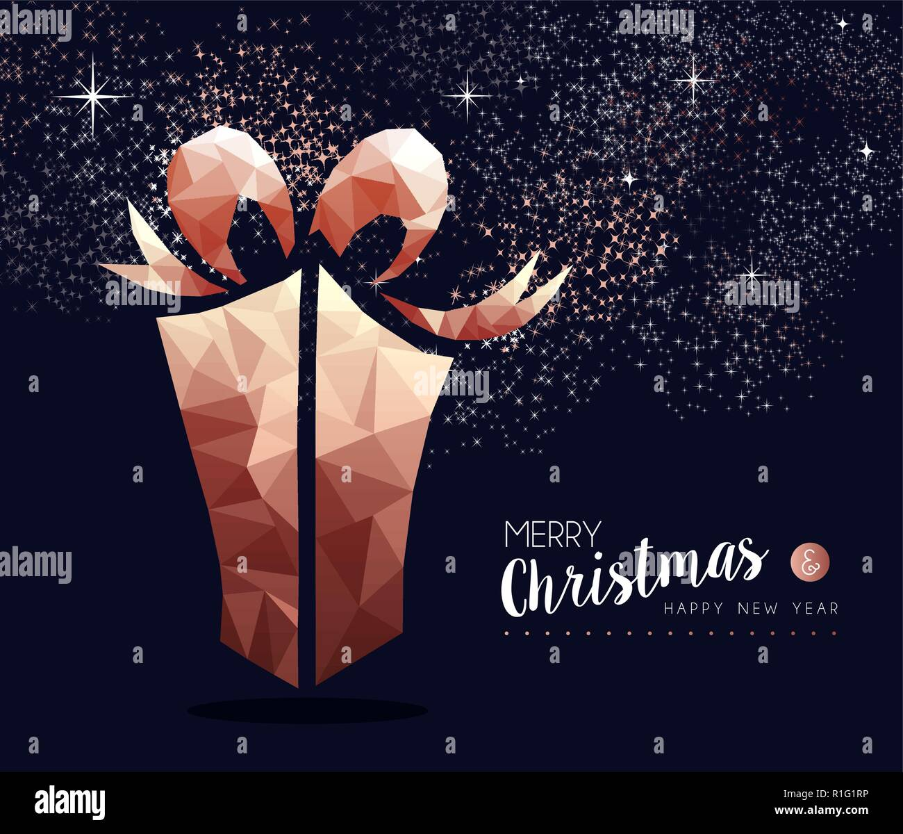 merry christmas and happy new year fancy copper gift box in hipster triangle low poly style ideal for xmas greeting card or elegant holiday party inv