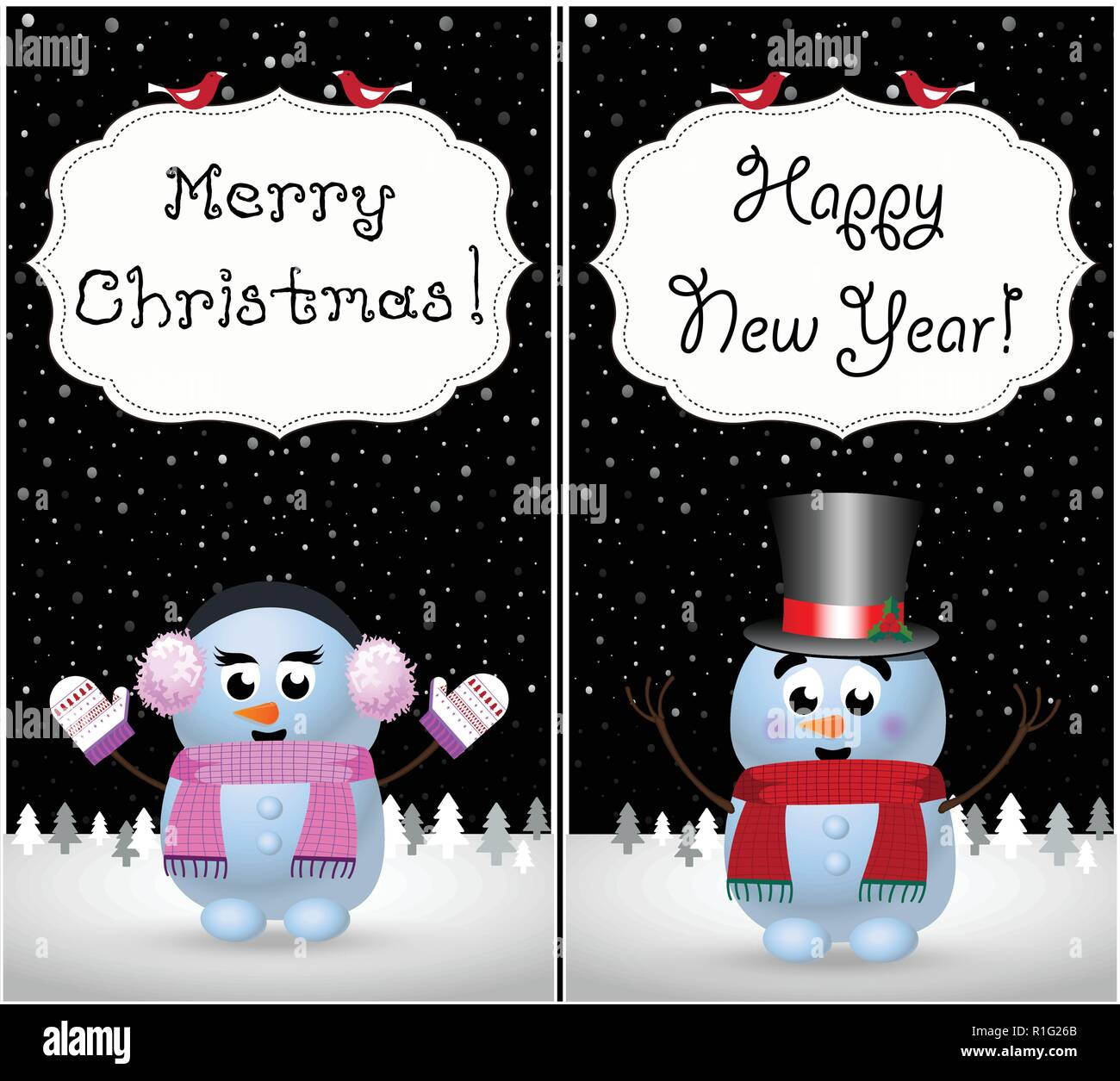 merry christmas happy new year greeting cards set of kawaii little baby snowman and snowgirl on winter snowy night landscape and hand drawn lettering