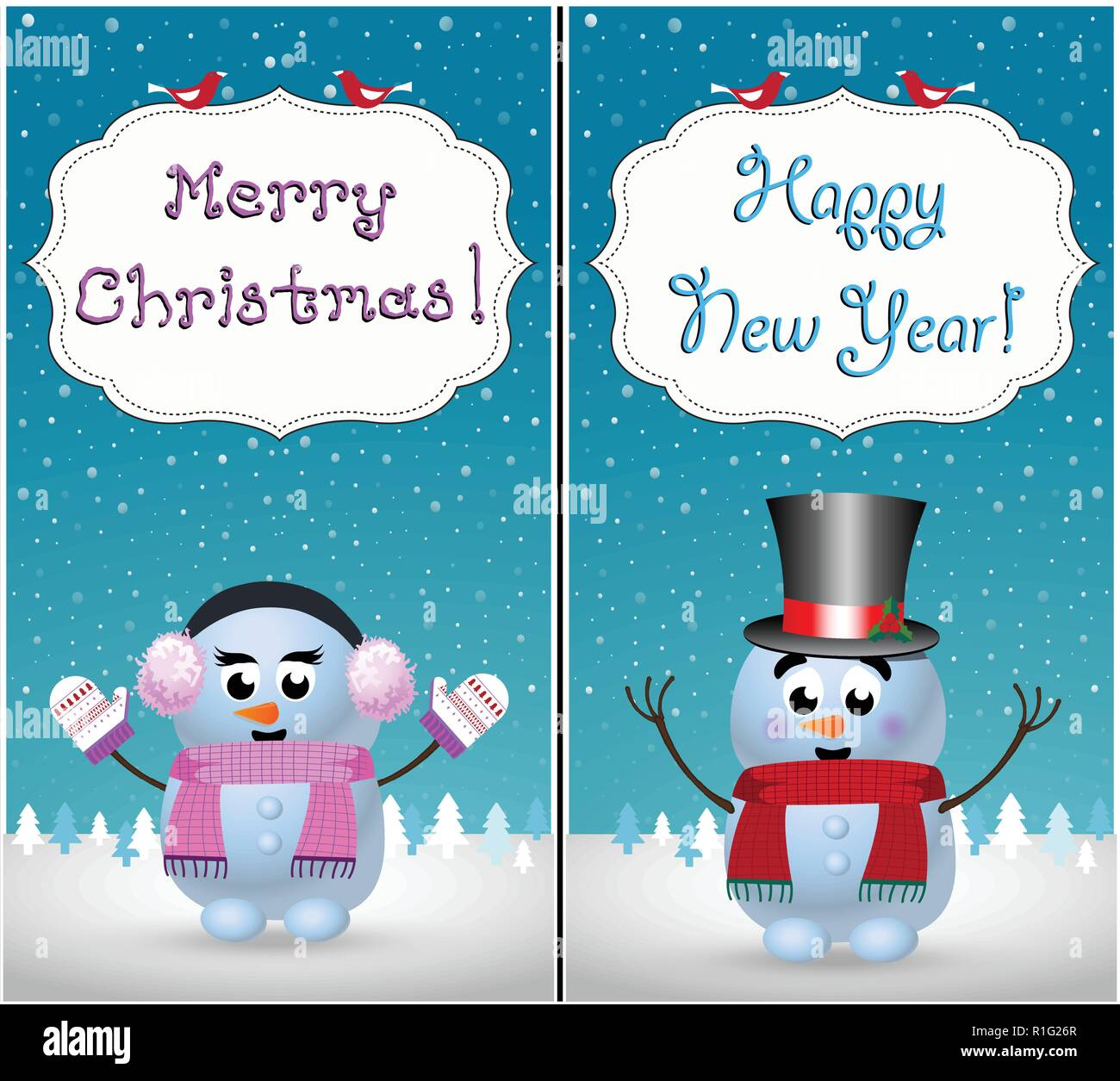 merry christmas and happy new year greeting cards set of cute little baby snowman and snowgirl on winter snowy landscape scene and hand drawn letterin