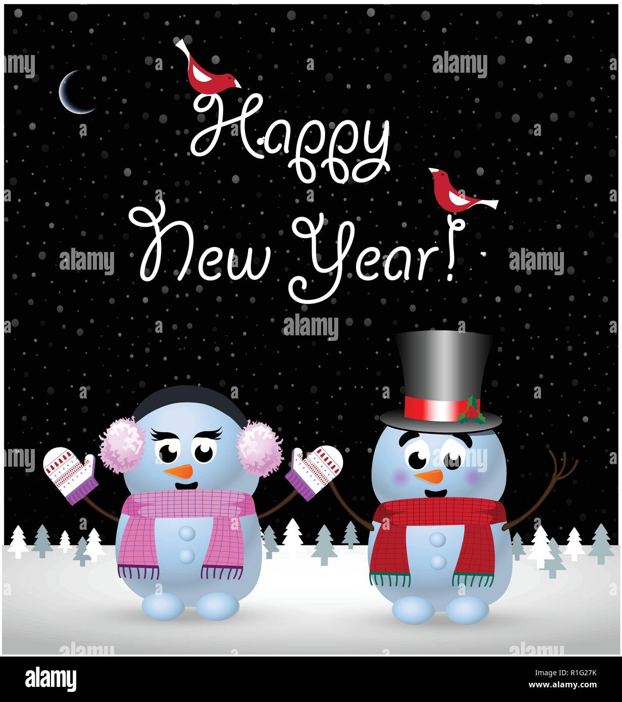happy new year greeting card of cute little baby snowman and snowgirl holding hands on winter snowy night landscape background and hand drawn letterin