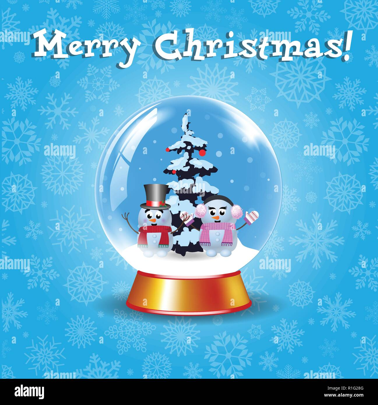 Merry Christmas Greeting Card With Crystal Snow Globe With