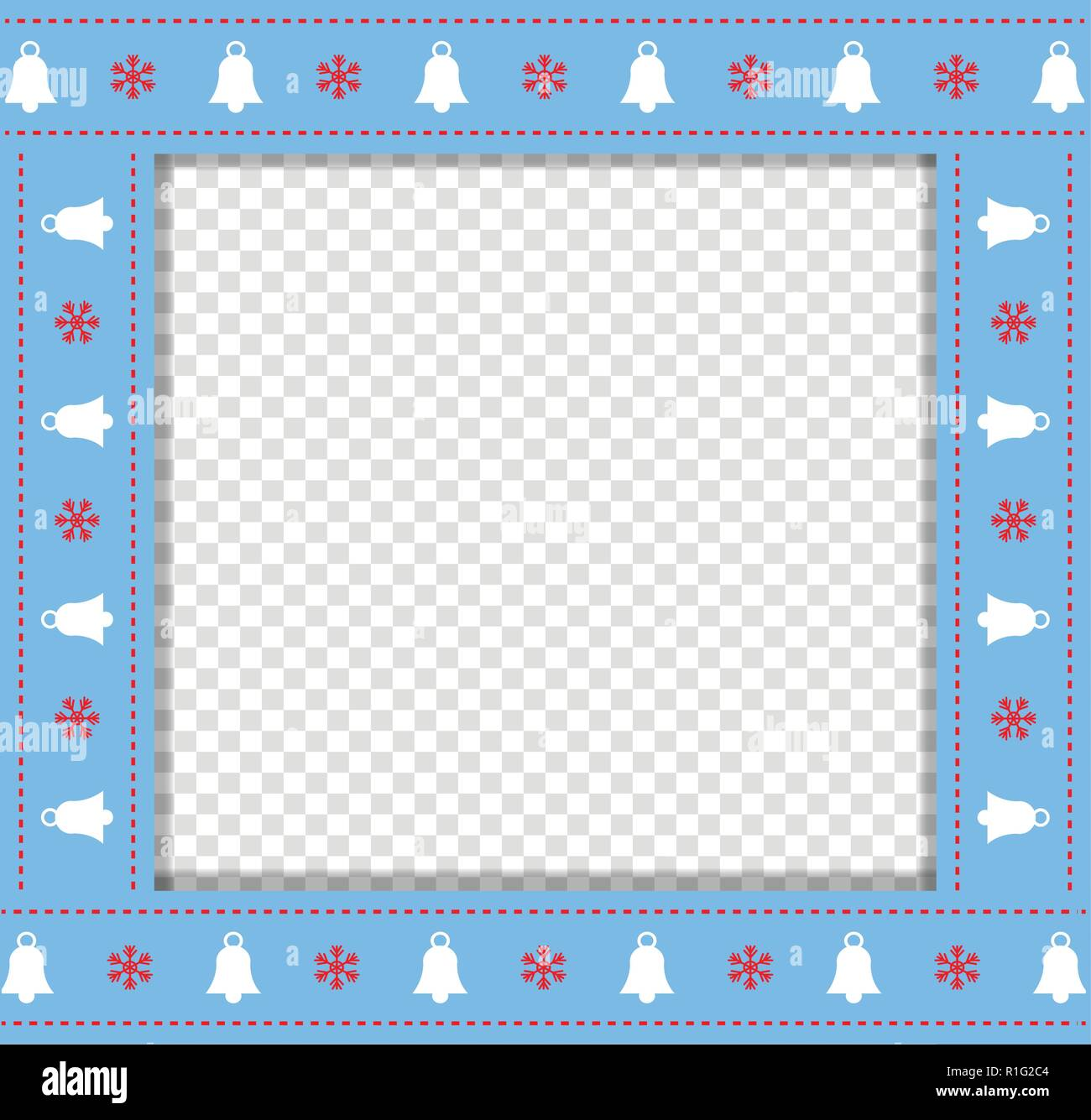 cute christmas or new year blue border with xmas bells and snowflakes pattern isolated on transparent background vector illustration square template
