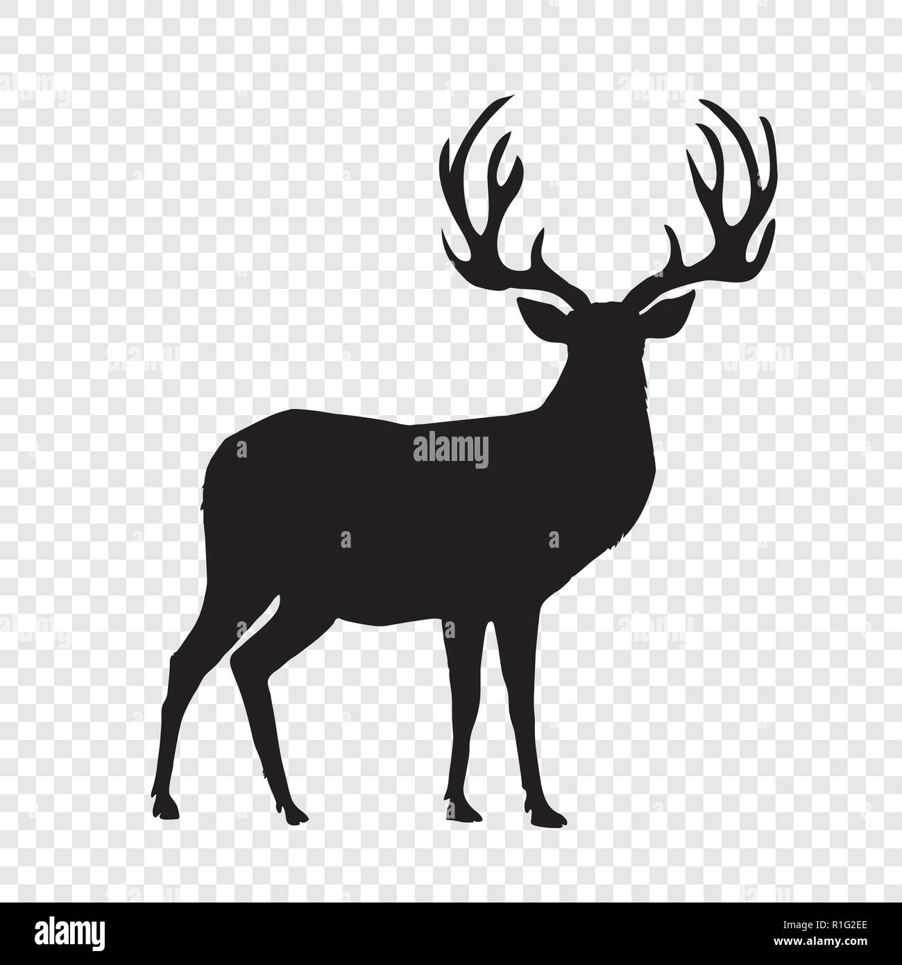 black silhouette of reindeer with big horns isolated on transparent