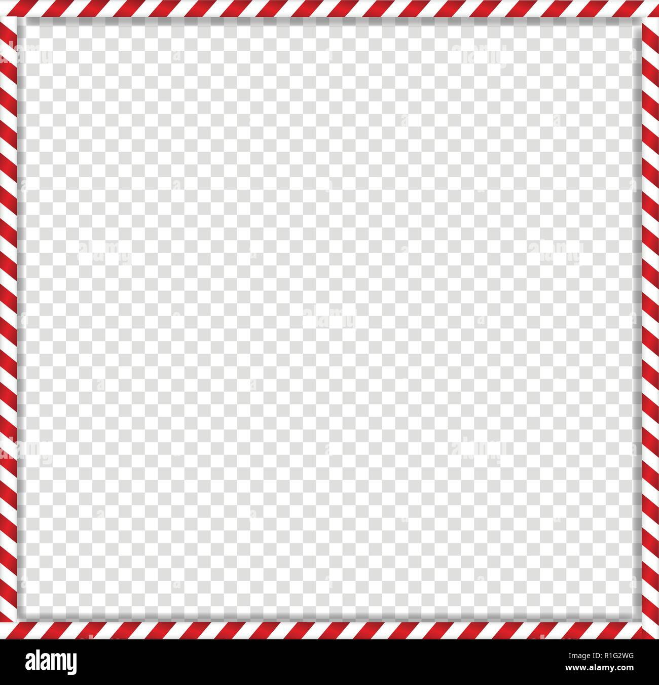 christmas new year square cane photo frame with red and white striped lollipop candy pattern isolated on transparent background holiday xmas border